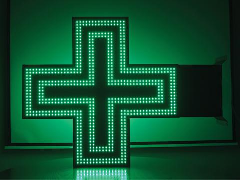 LED Pharmacy Cross Sign